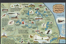Maps Postcard - Map of The Norfolk Broads  RS1898