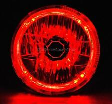"7"" Halogen Motorcycle Red LED Halo Ring H4 Light Bulb Headlight For: Harley"