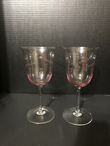 """Pink Tinted Wedding Toasting Glasses 9"""" Tall"""