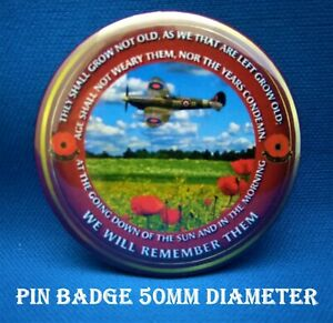 Armed forces RAF Spitfire Remembrance Lest we forget 50mm pin badges. FREE P&P
