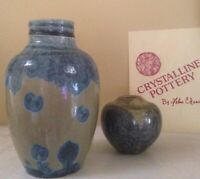 Hand Made Art Pottery-2 Crystalline Vases Signed By Artist Helen Coleburn-Mint
