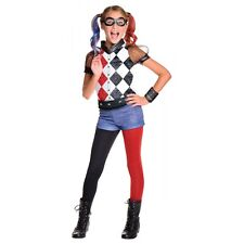 Harley Quinn Costume Kids Superhero Girl Halloween Fancy Dress