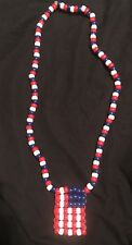 4th of July American Flag Patriotic Beads Necklace Homemade