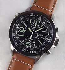 Seiko Prospex SSC081P1 SSC081 Solar Alarm Chronograph Compass leather strap