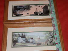 TWO MODERN FRAMED PRINTS SEASIDE/LAKE VIEW/COUNTRY CHURCH 13 1/2 X 7 1/2