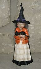 WITCH Figurine SCULPTURE w/ Black CAT/Hat*Halloween Primitive Fall Decor-Whimsy