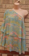 ASOS GREEN PINK FLORAL ONE SHOULDER BAGGY  CAMI BLOUSE  TOP T SHIRT TUNIC 8 S