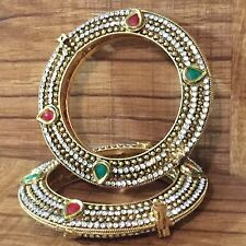 CLEARANCE Indian Pakistani Ethnic Gold Plated Polki Bangle Ruby Green Kada 2.4