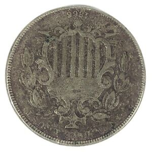 1866 w Rays United States Shield Nickel - Fine