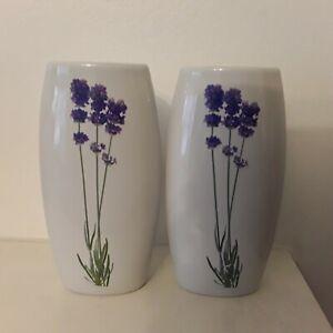 2 Ceramic bud vases Floral Hanging Decor Art table Modern flower home lavender
