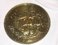 Vintage brass plate with ship & sea, decorative plate brass wall hanging