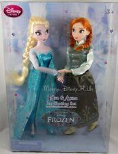 New Genuine Disney Store USA Frozen Elsa & Anna Ice Skating Toy Doll Set 2 Pk