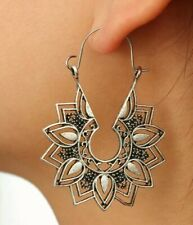 Lotus Flower Boho Bohemain Gypsy Goddess Hoop Tribal Ethnic earrings
