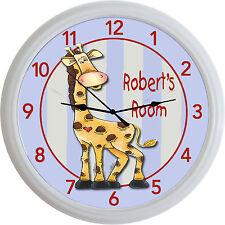 "Jungle Animal Safari Giraffe Custom Personalized Wall Clock Baby Nursery New 10"""
