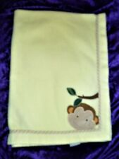 Lambs & and Ivy Yellow Monkey Face Baby Fleece Blanket