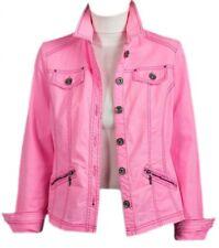 New Womens Pink Button Zip Pockets Denim Jacket 10 12 14 16 18 20 22