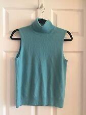 TSE Aqua Blue Cashmere Sleeveless Turtleneck Top Size M Authentic