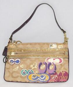 "Coach ~ POPPY Gold Glitter Studded - Signature C 8 1/5"" Wristlet Wallet"