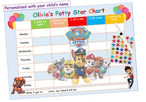 Potty Toilet Training Reward Chart - Kids Boys Girls Sticker Star - Reusable PAW