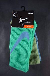 New Nike Youth Crew Performance Cotton 3pack Socks 3Y-5Y, 5Y-7Y SX5268 907
