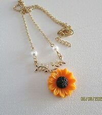 CLOSEOUT   Orange Sunflower w/Pearls Necklace - Acrylic Flower - Gold Plated
