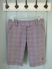 Adidas Womens Size 6 Small Pink Black Plaid Bermuda Stretch Shorts Golf
