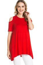1USA Women Open Cold Shoulder Long Tunic Top Dress A Line Silhouette S M L XL