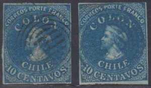 CHILE 1862 COLUMBUS Sc 12 TWO SINGLES BLACK & BLUE SIX BARS MUTE CANCELS