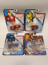 Lot of (4) Hot Wheels Marvel - IRON MAN, GROOT, BLACK PANTHER & CAPTAIN MARVEL