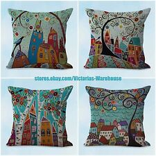 US SELLER- 4pcs decorative pillow covers cheap cushion covers city scenery art