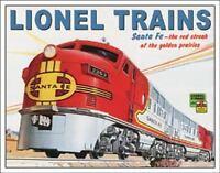 Lionel Santa Fe Railroad Trains Travel Diesel Locomotives Metal Sign 13 x 16in
