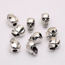 Metal DIY Charms Jewelry Making Spacer Beads Skull Head Antique Silver