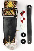 Guitar Strap Bundle - Real Leather Vintage Woven - Orange - Picks, Locks, Button