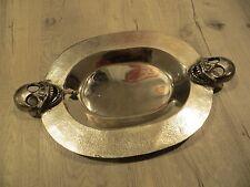Skull Head Metal Silver Tray Dish Platter Plate Display goth halloween decor