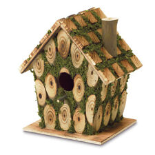 Moss-Edged Hanging Knotty Wood Bits Outdoor Yard Cottage Garden Bird House Green