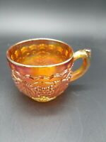 Antique Imperial Grape pattern Marigold Carnival Glass Punch bowl cup.