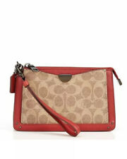 NWT - COACH Style 73958 Signature Colorblock Dreamer Wristlet in Canvas/Red