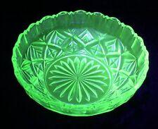 Vintage Green Uranium Round Glass Bowl 19cm