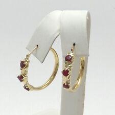 New 14K Gold 1.5ctw Natural Ruby July Birthstone Diamond Hoop Earrings