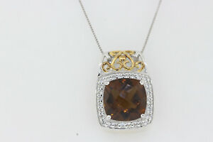 NEW Sterling Silver 7ct Cushion Citrine .60ct Round White Topaz Pendant Necklace