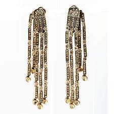 Costume Fashion Clip on Earrings Gold Dangle Bridal Weddings Fringe Long J1