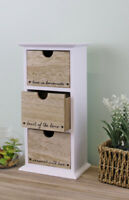 3 Drawers Bathroom Trinket Wood Storage Unit Cabinet Furniture bedroom jewellery