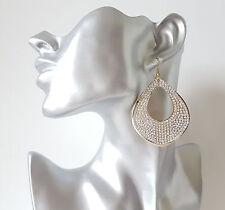 Beautiful GOLD tone & diamante - crystal TEARDROP disc - hoop drop earrings