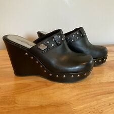 Harley Davidson Women's 7.5M Leather Clogs Shoes Black Mules Badge Bling