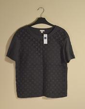 New! Gap women's charcoal grey frill panel t-shirt - XS - eyelet cutout blouse