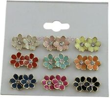 9 pairs Assorted Colour Flower Crystal Diamante Ear Studs Earring Set