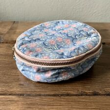 Vintage | Circular Zip-Around Travel Jewelry Bag | Blush/Blue Floral