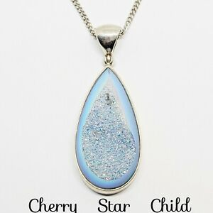 Solid sterling silver light blue druzy teardrop pendant necklace on 925 chain