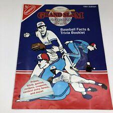 Nabisco Foods 1991 Edition MLB Baseball Facts & Trivia Booklet Grand Slam