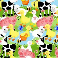 Fabric Farm Animals Scene on Blue Flannel by the 1/4 yard BIN